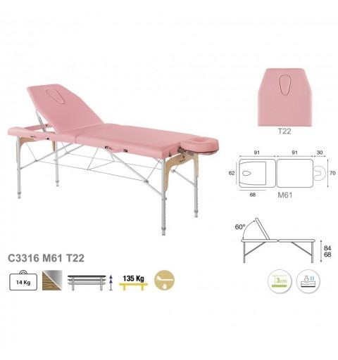 Camilla plegable de patas mixtas (aluminio y madera) 70x182 REF. C-3316-M61