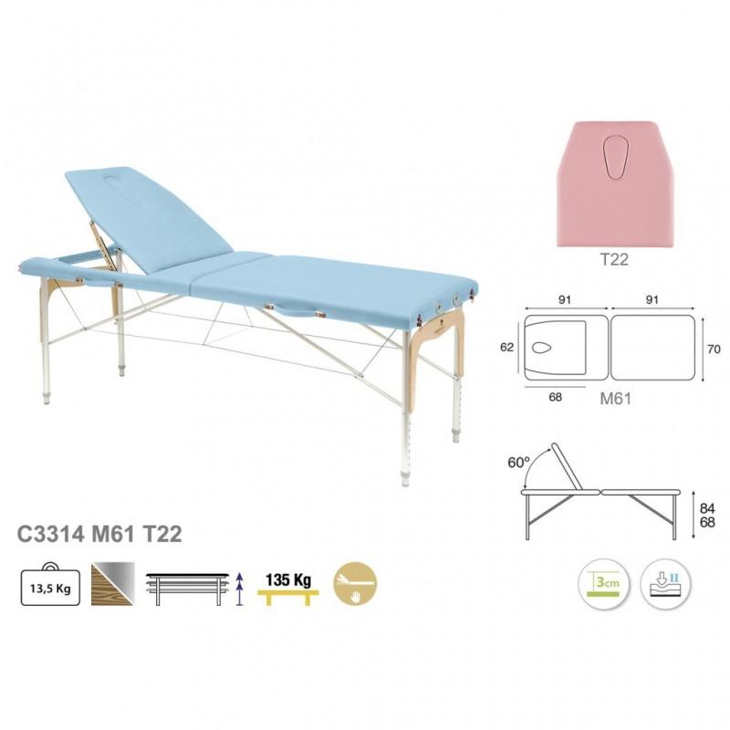 Camilla plegable de patas mixtas (aluminio y madera) 70x182   REF. C-3314-M61