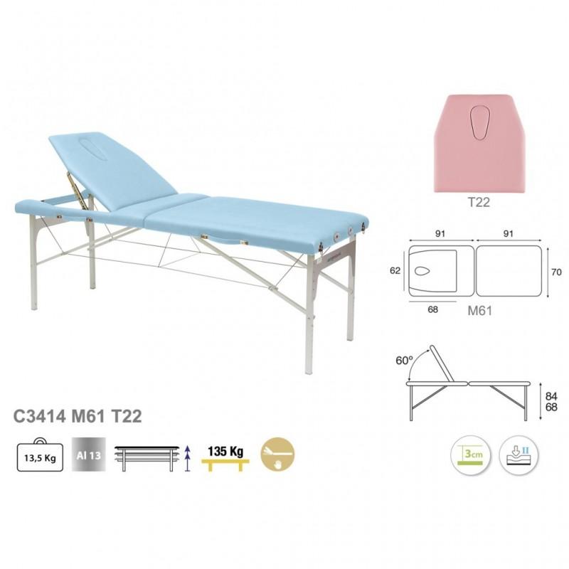 Camilla plegable de patas de aluminio 70x182 REF. C-3414-M61