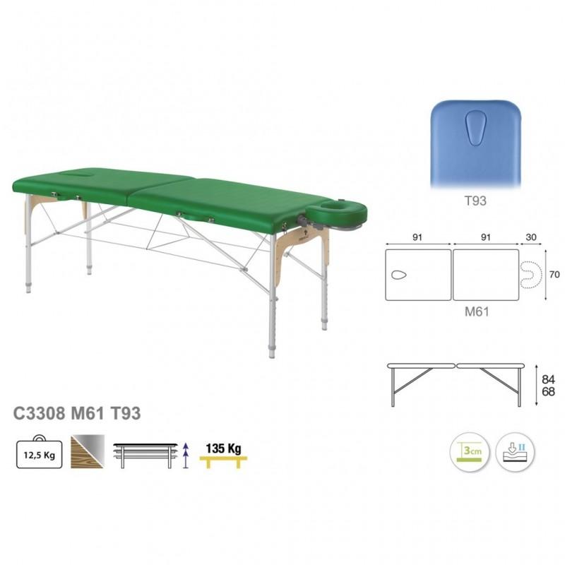 Camilla plegable de patas mixtas (aluminio y madera) 70x182 REF. C-3308-M61