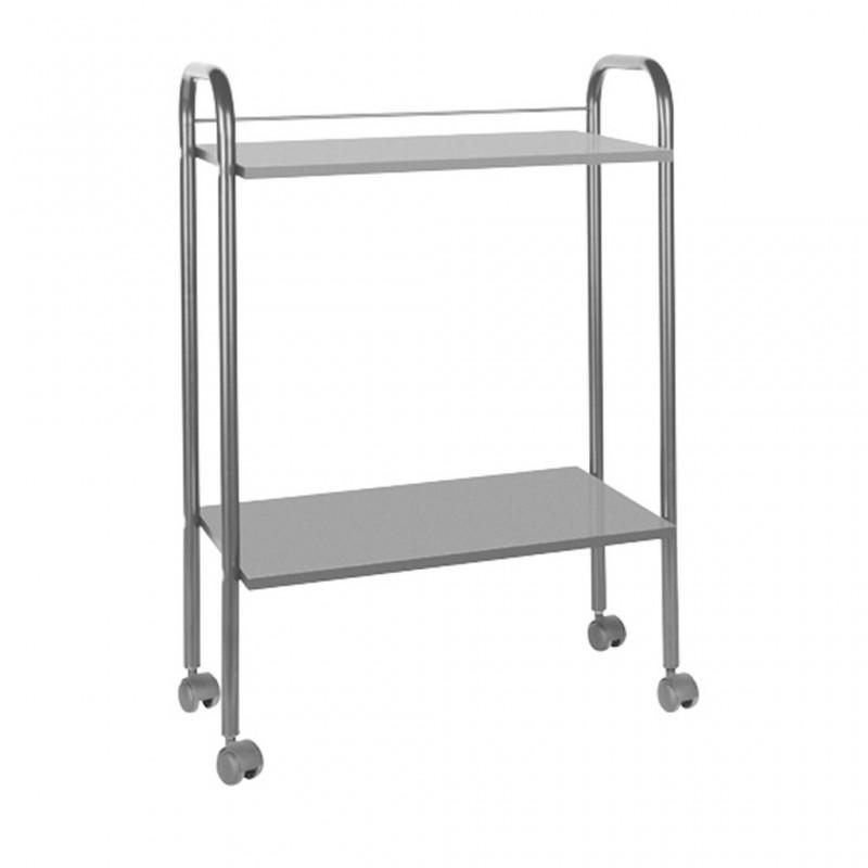 Mesa carrito metal y madera 2 alturas gris ref: A4484
